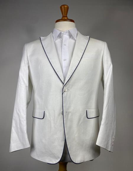 Mens White and Black Trim Linen Blazer - Sport Coat