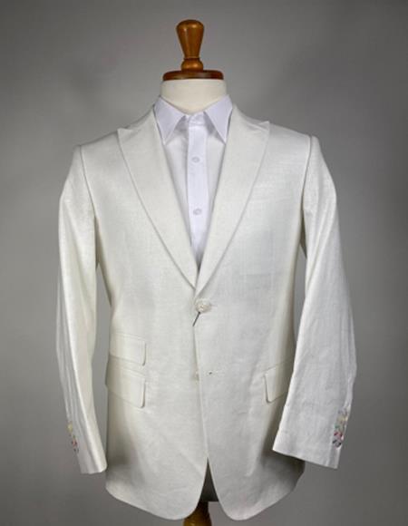Mens White Color Linen Blazer - Sport Coat
