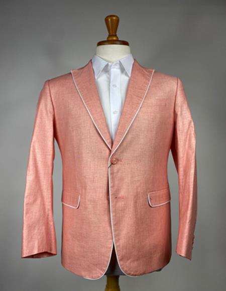 Men's Peach - Salmon Color Trim Lapel Linen Blazer - Sport Coat