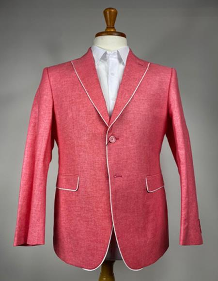 Men's Pink 2 Button  Peak Lapel Blazer