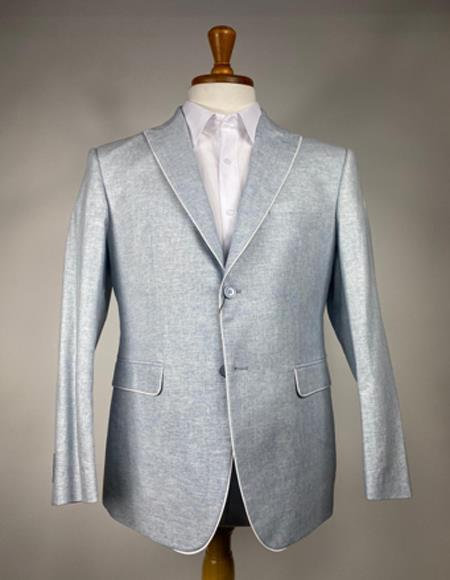 Mens Light Gray 2 Button Peak Lapel One Chest Pocket Blazer
