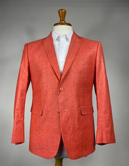 Mens Burnt Orange Two Flap Front Pockets 2 Buttons Blazer