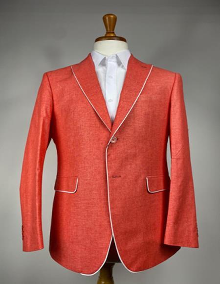 Mens Burnt Orange One Chest Pocket Blazer