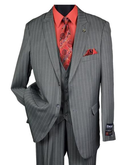 Men's Black Big and Tall Grey Pinstripe Vested Suit