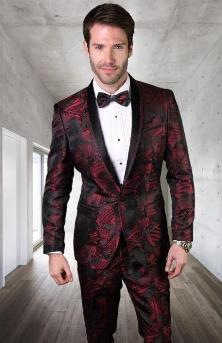 Men's Burgundy Ultra Slim Fit Prom Suit or Wedding Suit