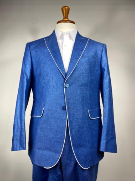 Royal Blue Men's Colorful Summer Linen Suit (Jacket) - Pastel Outfits Male - Pastel Suit