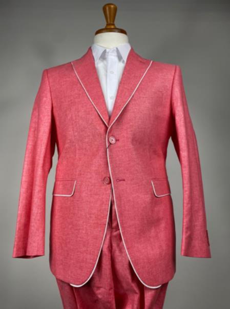 Pink Mens Colorful Summer Linen Suit (Jacket) - Pastel Outfits Male - Pastel Suit