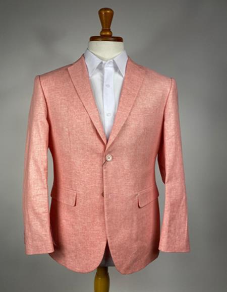 Men's Orange Two Flap Peak Lapel Front Pockets Sport Coat