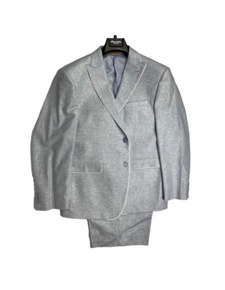 Men's Linen Fabric Summer Business Suits With Shorts Pants Set