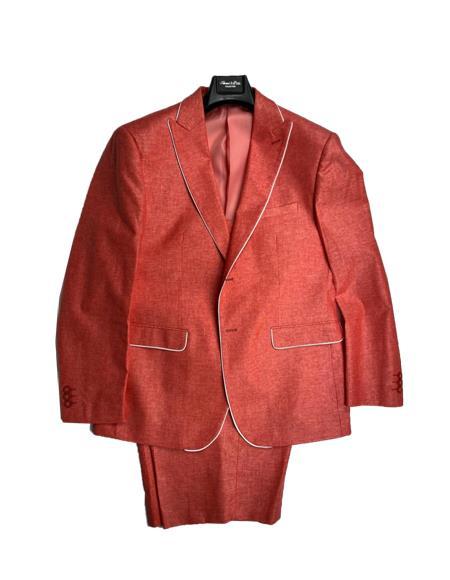 Burnt Orange - Salmon Color Men's Linen Fabric Summer Business Suits With Shorts Pants Set