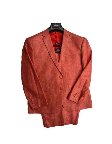 Men's Linen Fabric Summer Business Suits With Shorts Pants Set Burnt Orange - Salmon Color