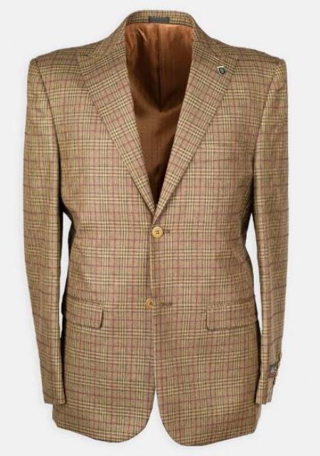 3 Pc Peak Lapel Plaid w/ DB Cross Suede Vest Mens Affordable Cheap Priced Mens Dress Suit For Sale