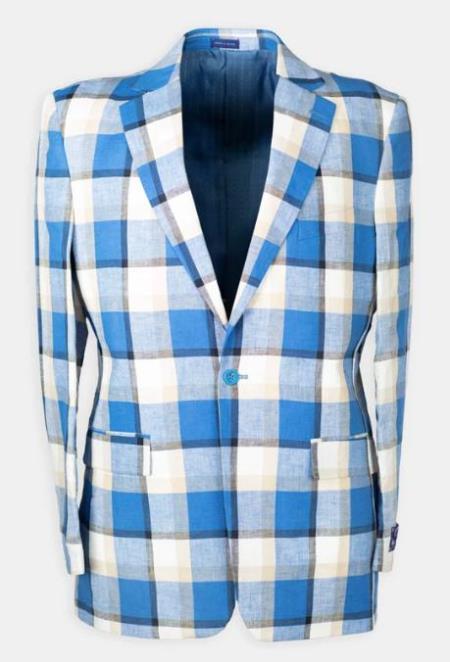Notch Lapel Plaid Linen Blend Affordable Cheap Priced Men's Dress Suit For Sale