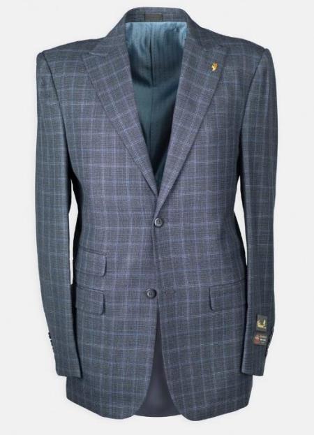 Peak Lapel Windowpane w/ Scoop Vest Affordable Cheap Priced Men's Dress Suit For Sale