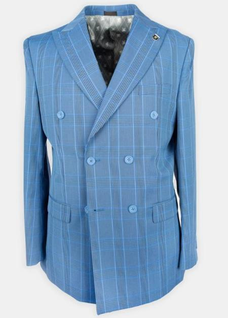 Men's Plaid Double Breasted Suits Affordable Cheap Priced Men's Dress Suit For Sale Blue
