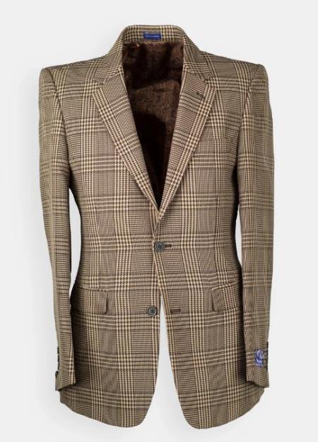 Men's Brown Windowpane houndstooth Blazer - Sport Coat
