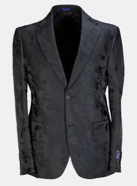 Paisley - Floral Suit (Jacket and Pants) Black - Mens Flower Suit