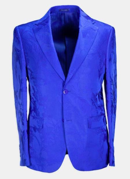 Paisley - Floral Suit (Jacket and Pants) Blue - Mens Flower Suit