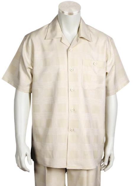 Tan Button Fastening 2pc Shirt and Pants Set