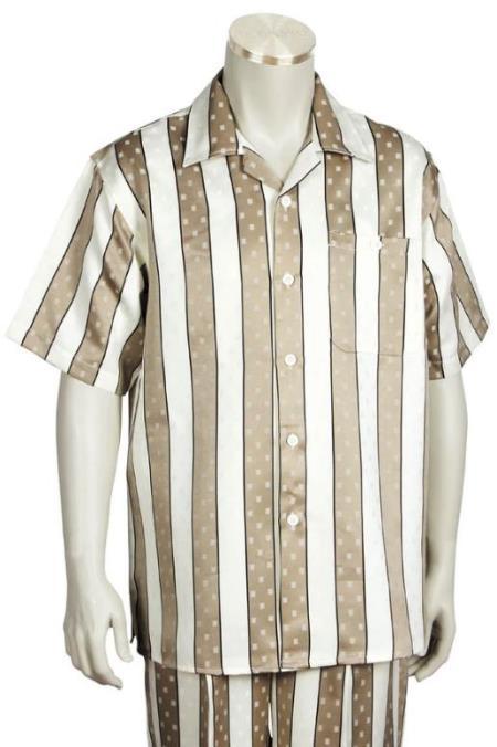 Taupe Single Left Side Pocket Short Sleeve Suit