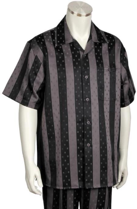 Speckled Stripes Short Sleeve 2pc Walking Suit Set - Grey/Black