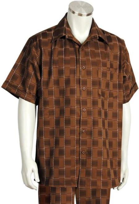 Offset Stitch Grids Short Sleeve 2pc Walking Suit Set - Brown