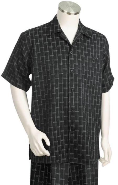 Stitch Stripes Short Sleeve 2pc Walking Suit Set - Black