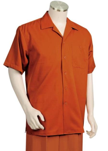 Monotone Textured Short Sleeve 2pc Walking Suit Set - Burnt Orange