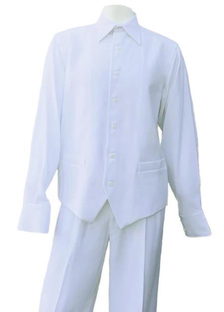 White Button Fastening Long Sleeve 2pc Walking Suit