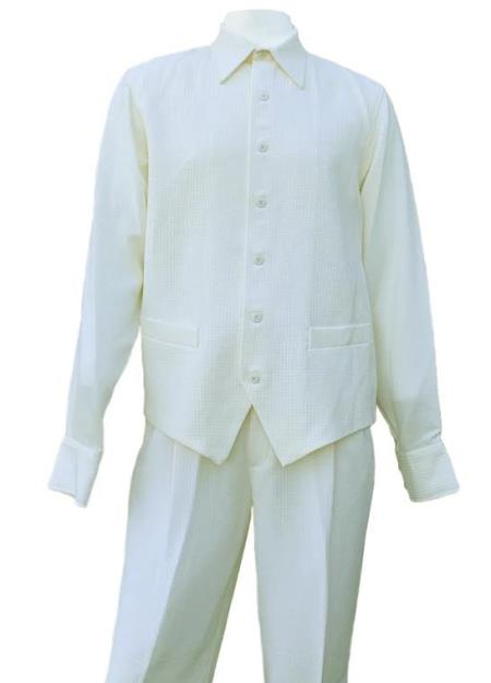 Off White Dual Pocket Accents Long Sleeve 2pc Walking Suit
