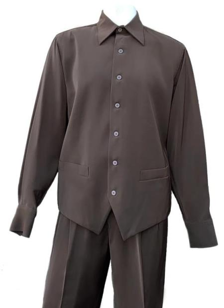 Brown Button Fastening Long Sleeve 2pc Walking Suit
