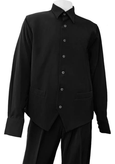 Black Point Collar Monotone 2pc Walking Suit Set