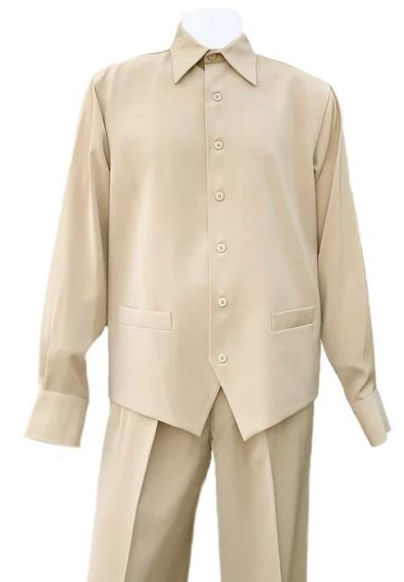Taupe Machine Wash Point Collar Long Sleeve 2pc Walking Suit
