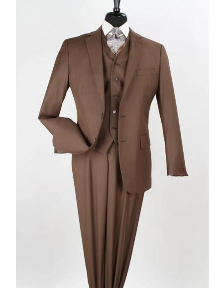 Apollo King Coffee Color - Light Brown - Mocha 2 Button Vested Suit Pleated Pants Classi Apollo King Suit