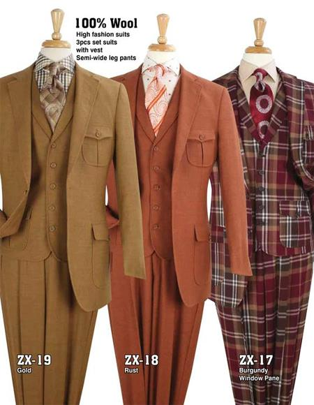 Apollo King Suit Safari Suit With Patch Pocket Military Style Wool Fabric in (Rust - Copper - Brick Color) and Gold
