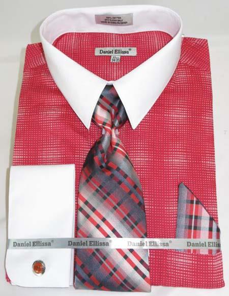 Mens Fashion Dress Shirts and Ties Coral Red Colorful Men's Dress Shirt