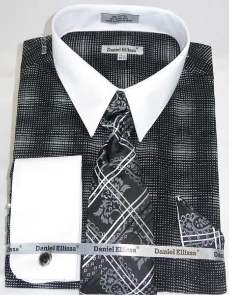 Mens Fashion Dress Shirts and Ties Black Colorful Men's Dress Shirt