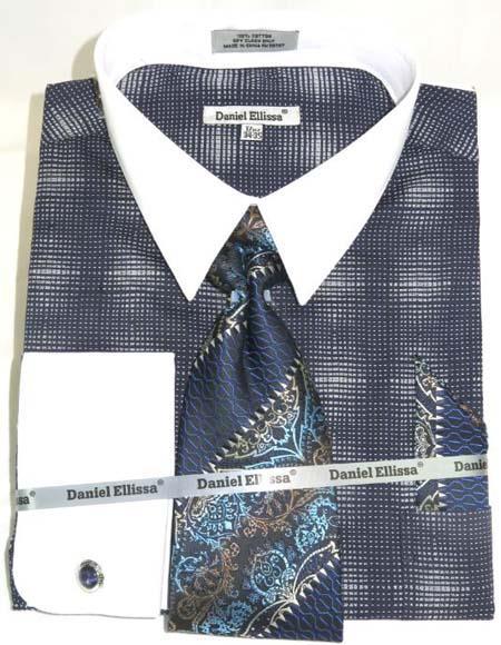 Mens Fashion Dress Shirts and Ties Navy Blue Colorful Men's Dress Shirt