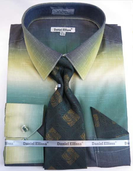 Mens Fashion Dress Shirts and Ties Men's double monk strap shoes Moss Green Colorful Men's Dress Shirt