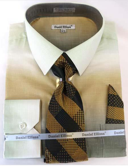 Mens Fashion Dress Shirts and Ties Beige Colorful Men's Dress Shirt