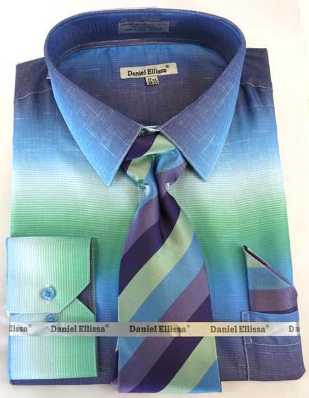 Aqua Colorful Mens Dress Shirt
