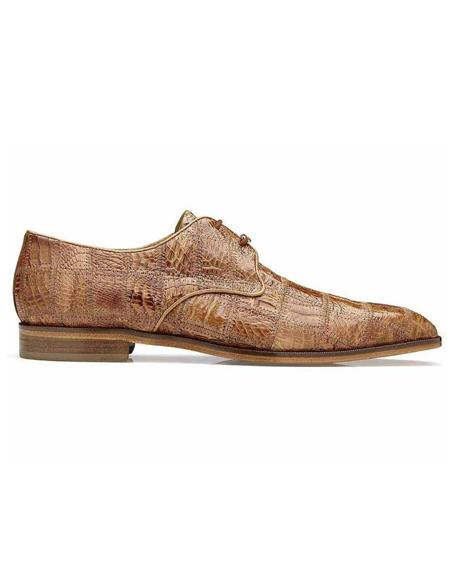 Belvedere Sabato Honey Genuine Caiman Crocodile Patchwork Mens Oxford