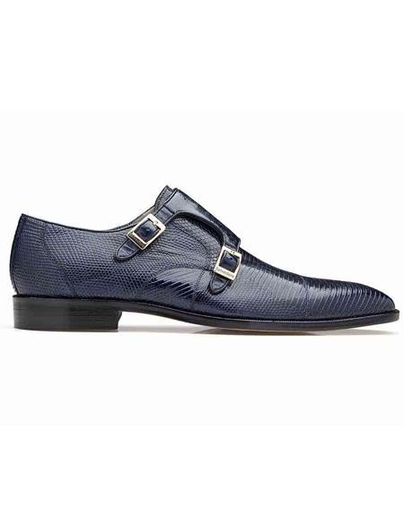 Men's double monk strap shoes Belvedere Pablo Navy Genuine Lizard & Ostrich Monk Strap Men's Shoe- Men's Buckle Dress Shoes