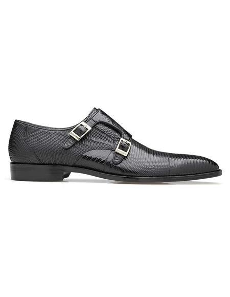 Men's double monk strap shoes Belvedere Pablo Black Genuine Lizard & Ostrich Monk Strap Men's Shoe- Men's Buckle Dress Shoes