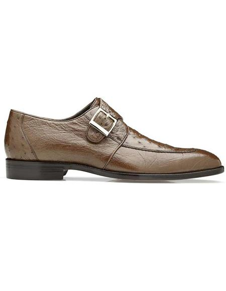 Belvedere Josh Brown Genuine Ostrich Monk Strap Mens Shoe- Mens Buckle Dress Shoes
