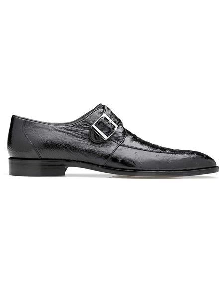 Belvedere Josh Black Genuine Ostrich Monk Strap Mens Shoe- Mens Buckle Dress Shoes