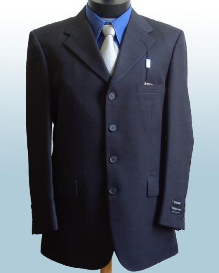 SKU#FR24 Mens Dress Navy Blue 4 Buttons Style Suits non back vent coat style  Pleated Pants $199