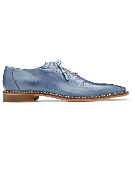 Belvedere Gabriele Antique Blue Jean Genuine Caiman and Italian Calf Men's Oxford
