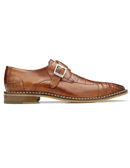 Belvedere Falcon Antique Almond Safari Genuine Caiman Crocodile and Italian Calf Monk Strap Men's Shoe- Men's Buckle Dress Shoes