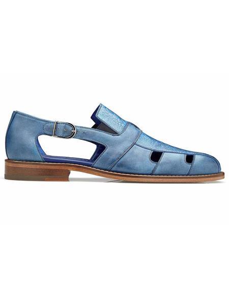 Belvedere Connors Antique Ocean Blue Genuine Ostrich Mens Dress Sandals
